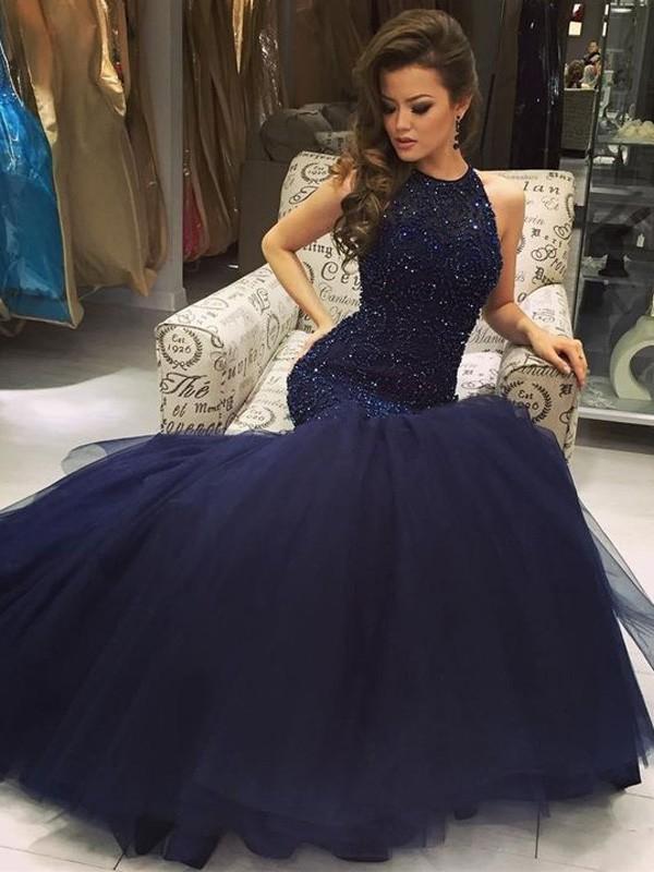 076ca57a0ff7 Trumpet/Mermaid Sleeveless Floor-Length Jewel Tulle Beading Dresses ...