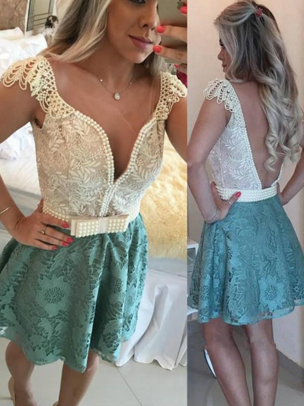 e996bc222e5 A-Line Princess Sleeveless V-neck Beading Lace Short Mini Dresses ...