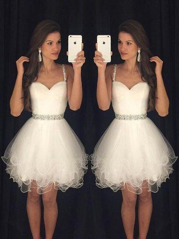 fb73a475faaa A-Line/Princess Sleeveless Sweetheart Beading Tulle Short/Mini Dresses