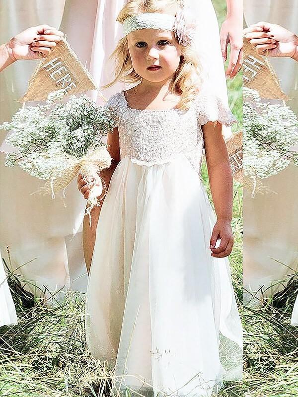 c596ae0265c A-line Princess Square Short Sleeves Lace Floor-Length Chiffon Flower Girl  Dresses