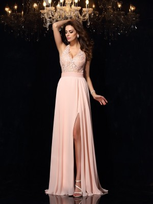 A-Line/Princess Halter Lace Sleeveless Long Chiffon Dresses