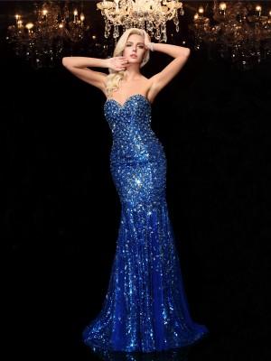 Trumpet/Mermaid Sweetheart Sequin Sleeveless Long Sequins Dresses