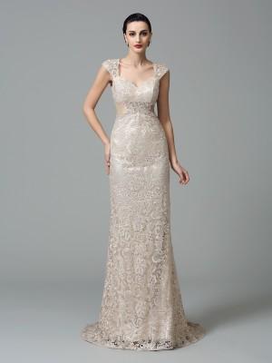 Sheath/Column Straps Sleeveless Long Lace Dresses
