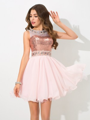 A-Line/Princess Sheer Neck Sequin Sleeveless Short Chiffon Cocktail Dresses