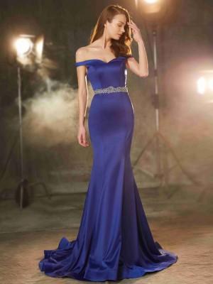 Trumpet/Mermaid Off-the-Shoulder Sleeveless Crystal Sweep/Brush Train Satin Dresses