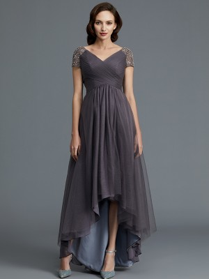 A-Line/Princess V-neck Short Sleeves Asymmetrical Tulle Mother of the Bride Dresses