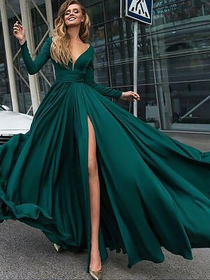 A-Line Princess V-Neck Long Sleeves Floor-Length Ruffles Satin Chiffon 1d8f0853851a