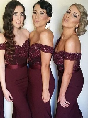 Sheath/Column Off-the-Shoulder Sweep/Brush Train Sleeveless Lace Satin Bridesmaid Dresses