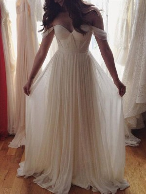 A-Line/Princess Sleeveless Off-the-Shoulder Beading Floor-Length Chiffon Dresses