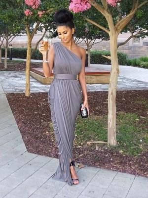 Sheath/Column One-Shoulder Sleeveless Floor-Length Jersey Bridesmaid Dresses