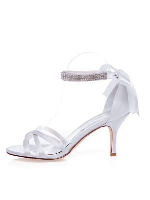 Women's Satin Peep Toe Stiletto Heel Silk Wedding Shoes