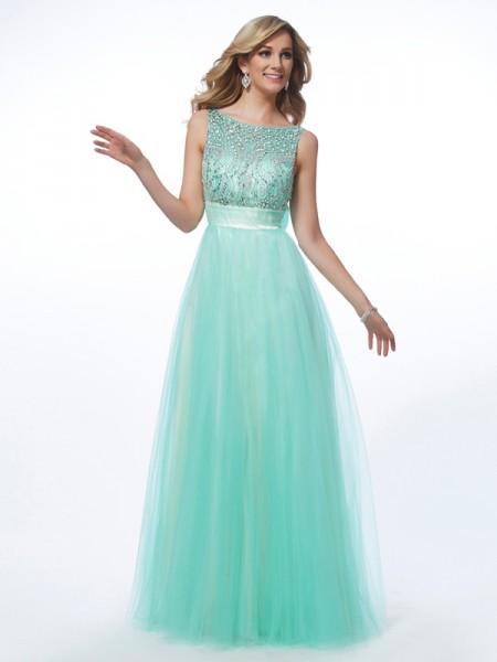A-Line/Princess Bateau Sleeveless Beading Long Net Dresses