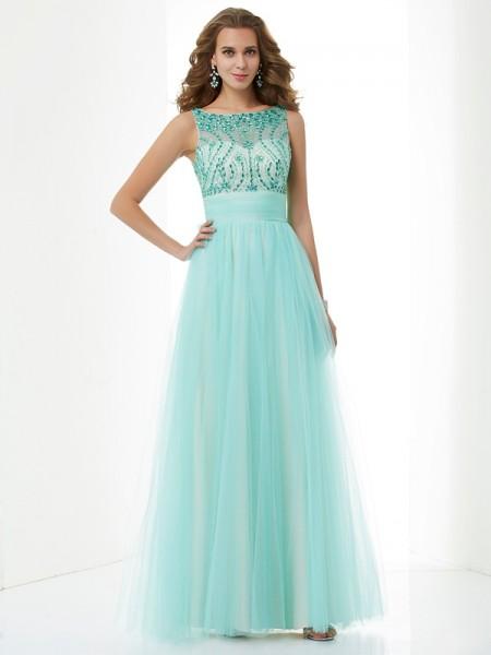 A-Line/Princess Bateau Sleeveless Beading Long Elastic Woven Satin Dresses