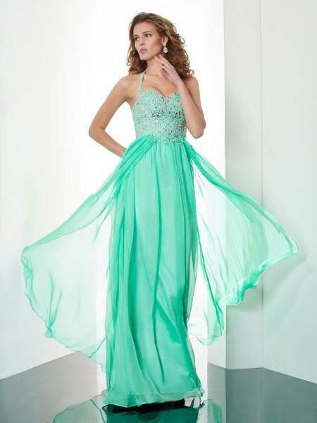 A-Line/Princess Halter Sleeveless Beading Applique Long Chiffon Dresses