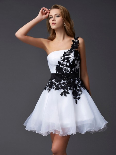 A-Line/Princess One-Shoulder Sleeveless Lace Short Organza Homecoming Dresses