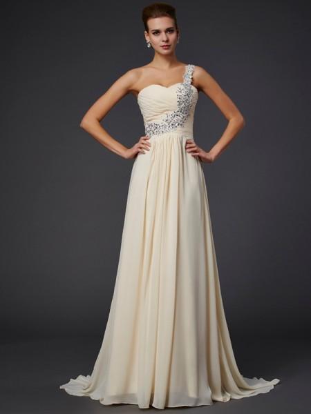 A-Line/Princess One-Shoulder Sleeveless Beading Applique Long Chiffon Dresses