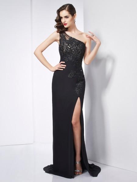 Sheath/Column One-Shoulder Sleeveless Applique Long Chiffon Dresses