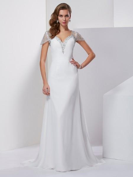 A-Line/Princess Sweetheart Short Sleeves Applique Beading Long Chiffon Dresses