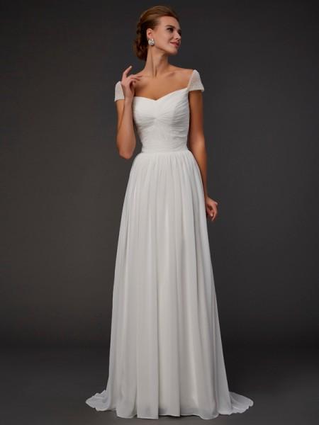 A-Line/Princess Sweetheart Short Sleeves Beading Long Chiffon Dresses