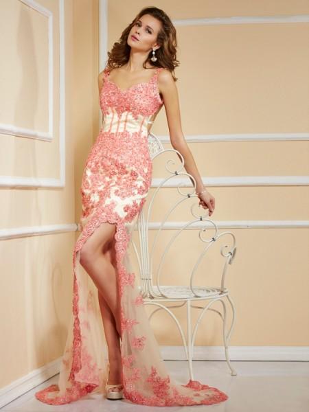 Sheath/Column Straps Sleeveless Applique Long Net Dresses