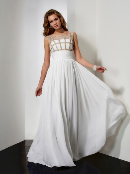 A-Line/Princess Straps Sleeveless Beading Chiffon Long Dresses