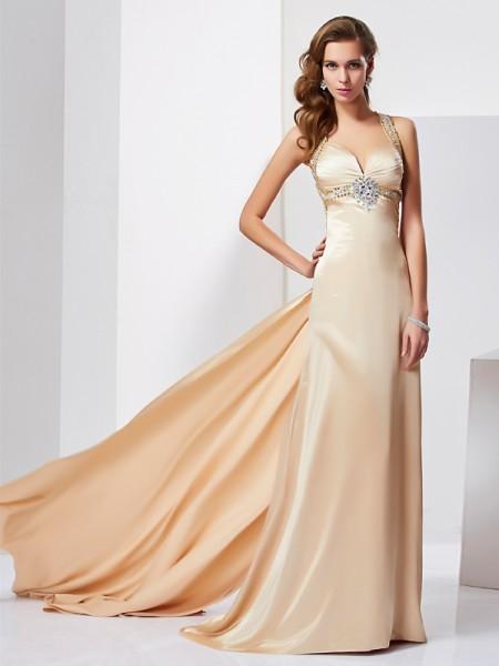 Sheath/Column Halter Sleeveless Ruffles Long Silk like Satin Dresses