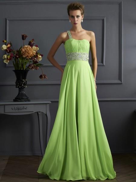 A-Line/Princess Sleeveless Beading One-Shoulder Chiffon Long Dresses