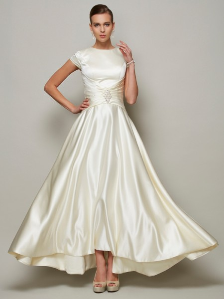 A-Line/Princess Scoop Short Sleeves Beading Long Satin Mother of the Bride Dresses