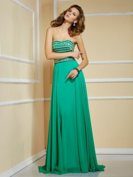 A-Line/Princess Strapless Sleeveless Rhinestone Long Chiffon Dresses