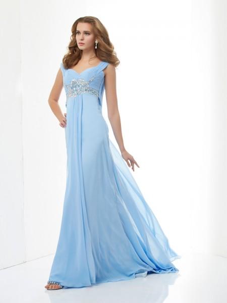 A-Line/Princess Sleeveless Beading Sweetheart Long Chiffon Dresses