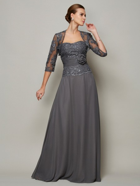 A-Line/Princess Sleeveless Applique Sweetheart Long Chiffon Mother of the Bride Dresses
