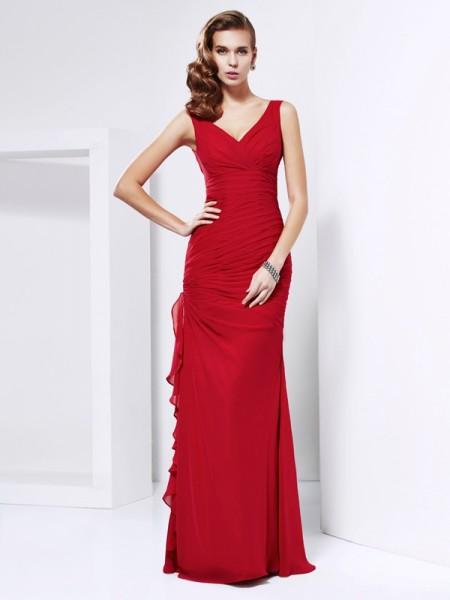 Sheath/Column V-neck Sleeveless Ruched Long Chiffon Dresses
