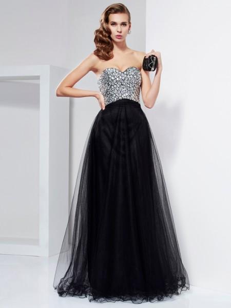 A-Line/Princess Sweetheart Sleeveless Beading Crystal Long Elastic Woven Satin Dresses