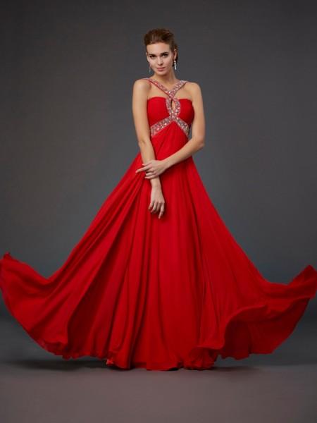 Sheath/Column Halter Sleeveless Beading Sequin Long Chiffon Dresses