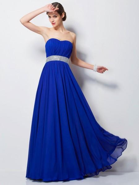 Empire Sweetheart Sleeveless Beading Long Chiffon Dresses