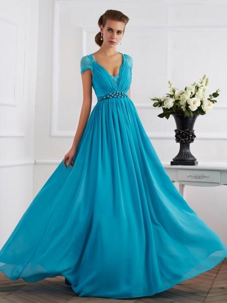 A-Line/Princess V-neck Beading Short Sleeves Long Chiffon Dresses