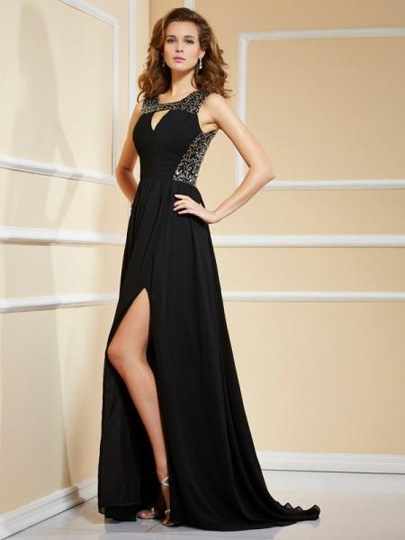 A-Line/Princess High Neck Sleeveless Lace Long Chiffon Dresses