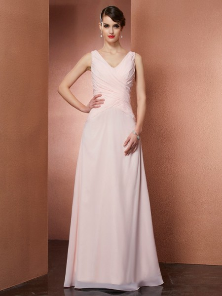 A-Line/Princess V-neck Sleeveless Pleats Long Chiffon Dresses