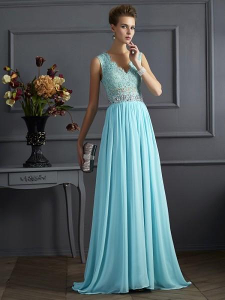 A-Line/Princess Straps Sleeveless Beading Lace Long Chiffon Dresses