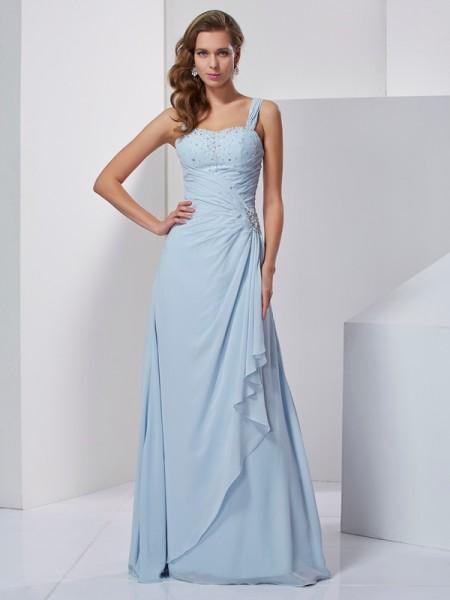 A-Line/Princess Straps Sleeveless Beading Long Chiffon Dresses
