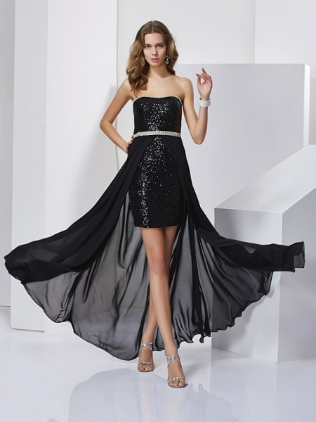 A-Line/Princess Strapless Sleeveless Ruffles Short Chiffon Dresses