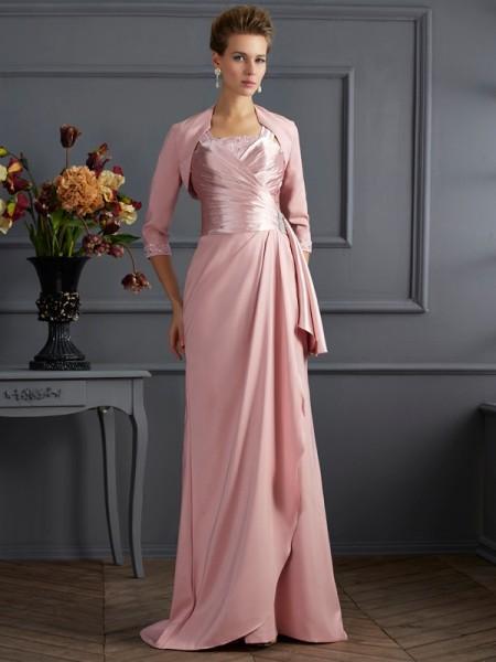 Sheath/Column Straps Sleeveless Long Elastic Woven Satin Mother of the Bride Dresses