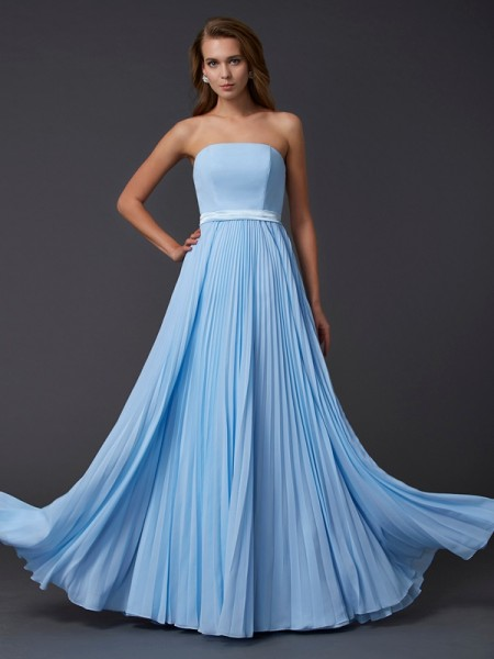 A-Line/Princess Strapless Sleeveless Ruched Long Chiffon Dresses