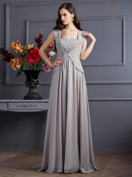 A-Line/Princess Square Sleeveless Beading Long Chiffon Dresses
