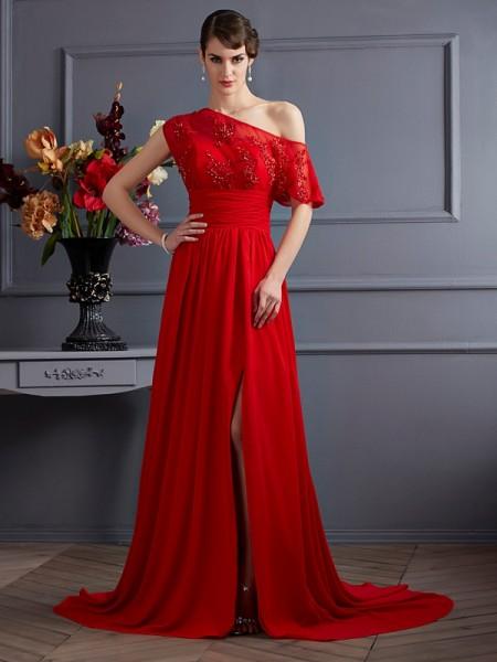 A-Line/Princess One-Shoulder Sleeveless Applique Long Chiffon Dresses