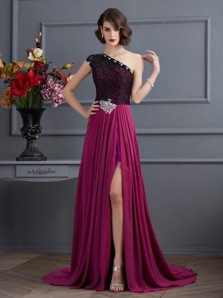 A-Line/Princess One-Shoulder Sleeveless Lace Long Chiffon Dresses
