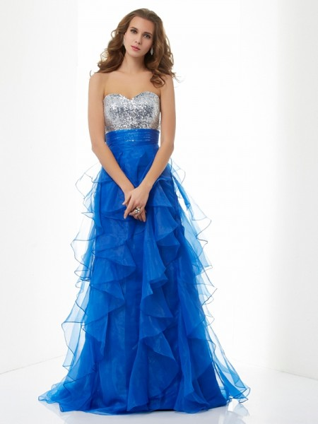 A-Line/Princess Sweetheart Sleeveless Paillette Long Satin Dresses