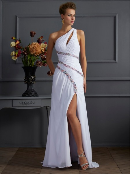 Sheath/Column One-Shoulder Sleeveless Beading Long Chiffon Dresses