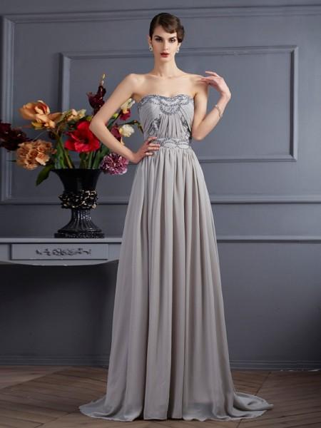 A-Line/Princess Sweetheart Sleeveless Beading Pleats Long Chiffon Dresses
