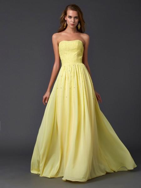 A-Line/Princess Strapless Sleeveless Pleats Long Chiffon Dresses